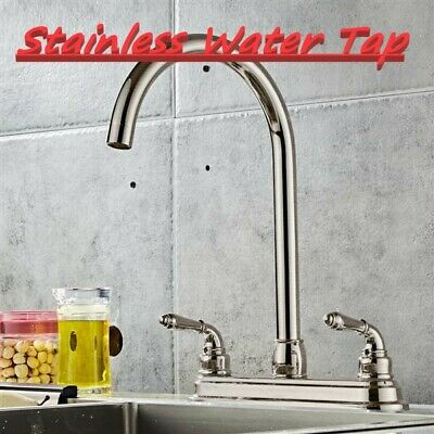 Stainless Steel 2-handle Kitchen Fixed Faucet Dual Hole Home Sink High Arch Tap