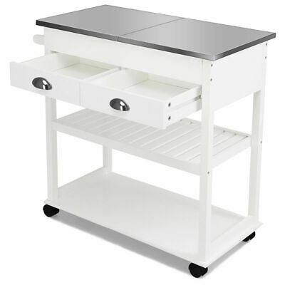 Rolling Kitchen Island Trolley Cart Stainless Steel Home Tabletop w/Drawer White