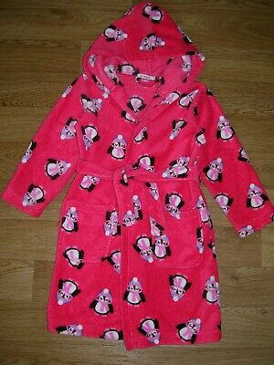 BLUEZOO Girls Red Penguin Print Soft Fleece Dressing Gown Pyjamas Age 5-6 116cm