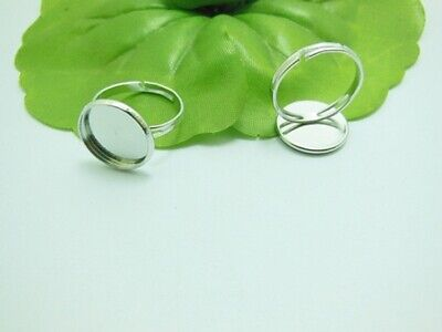 100 Silver Round Adjustable RING Blank Bases Jewelry Finding 12m