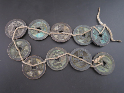 Collect 10pc Chinese Bronze Coin China Old Dynasty Antique Currency Cash #11