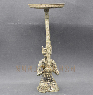 """16.90""""Collection Chinese antiques ancient bronze inlaid silver human lampstand"""
