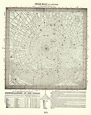 1901 Antique ASTRONOMY Print Star North Pole Constellation Astrology Map 7107