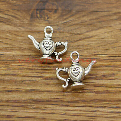 10 Teapot Charms Tea Pot Charms 3D Pendants Findings Antique Silver 19x21x8 383