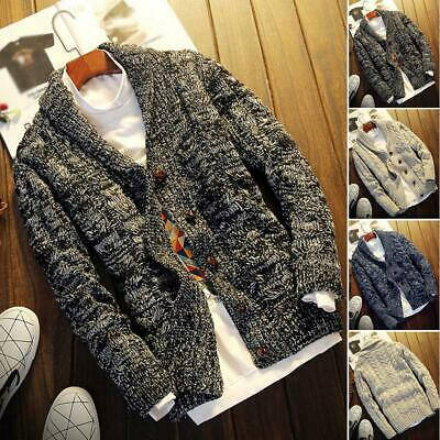 Mens Chunky Collared Cardigan Winter Sweater Shawl Thick Warm Knitted Jumper Uk