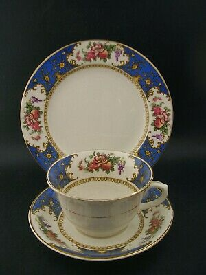SAMPSON BRIDGWOOD Vintage China TRIO Blue Tea Cup Saucer Tea Plate England A/F