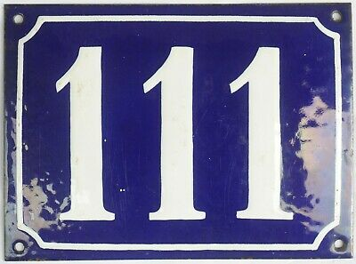 Large old blue French house number 111 door gate plate plaque enamel metal sign