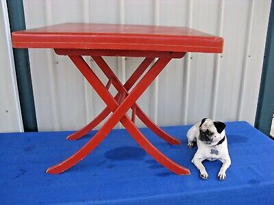 "Vintage Antique Wooden Wood Folding Card Table Red 30"" Very Nice Well Built"