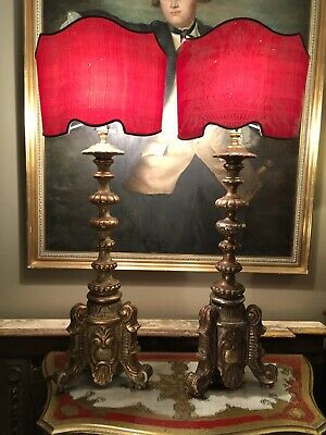 Exceptional PAIR OF ANTIQUE BAROQUE Carved GILT WOOD ALTER Sticks,table Lamps