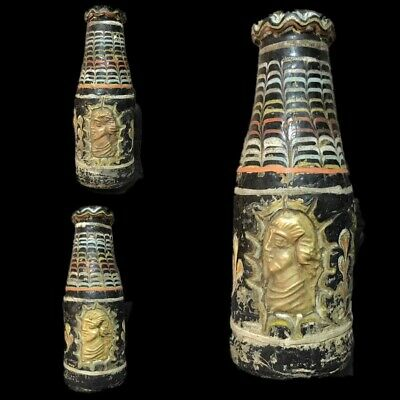 Very Rare Phoenician Mosaic Decorative Glass Vessel With Gold Motif 300 Bc