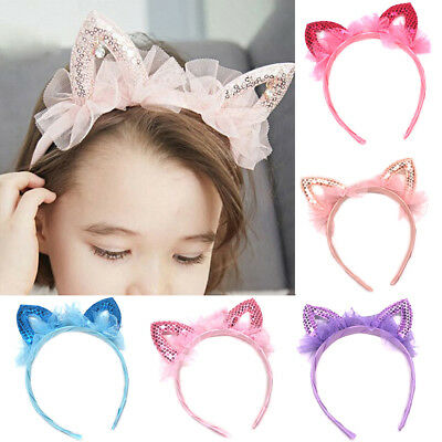 Baby princess cat ears tiara hairband hair head hoop band for kids headweaRSFD