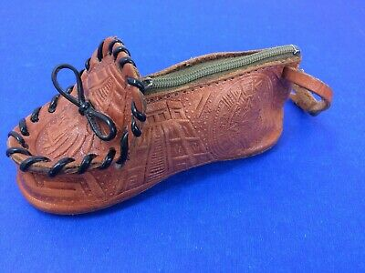 VTG Tooled Leather Shoe Coin Purse Souvenir of Mexico