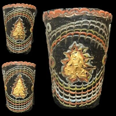 Very Rare Phoenician Mosaic Decorative Glass Cup With Gold Motifs 300 Bc
