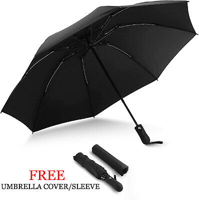 Black Umbrella Open & Close Windproof Storm Travel Compact Folding Mens Womens