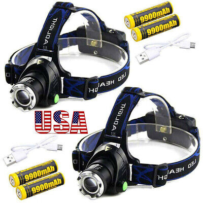 T6 LED 350000Lumen Zoomable Headlamp USB Rechargeable 18650 Headlight Head Lamp