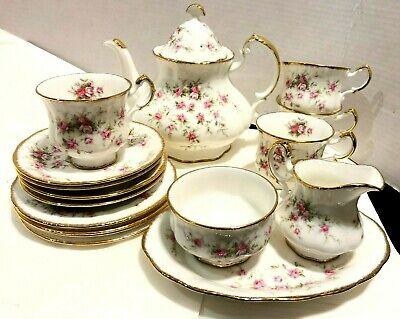 PARAGON Victoriana Rose Set,  Teapot With Royal Albert Backstamp MINT