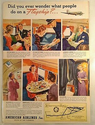 Vintage 1940 American Airlines System Map Print Ad, Route Of The Flagships