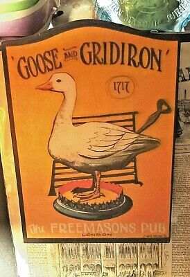 Freemason Sign, Masonic Sign, Goose and Gridiron Sign, Pub Sign
