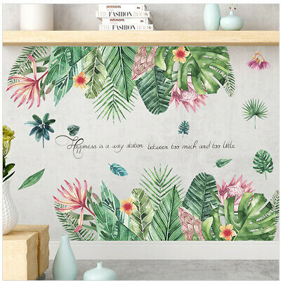 Tropical Plant Leaves Wall Sticker Removable Art Decal Mural Living Room Home