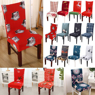 Home Kitchen Seat Decor Happy Christmas Santa Claus Deer Chair Back Covers Xmas