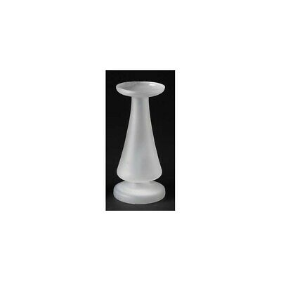 """Roman 9"""" Contemporary Sleek White Frosted Glass Pillar Candle Holder"""