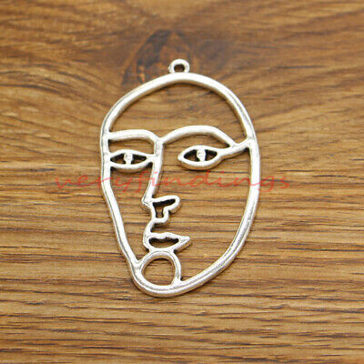 25pcs Mask Charms Masquerade Charms Antique Silver Tone 31x10mm 0063