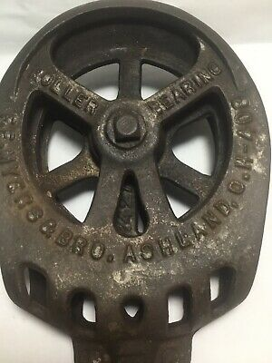 Antique F.E Myers & Bro Cast Iron Drop Pulley for O.K. Unloader Hay Trolley