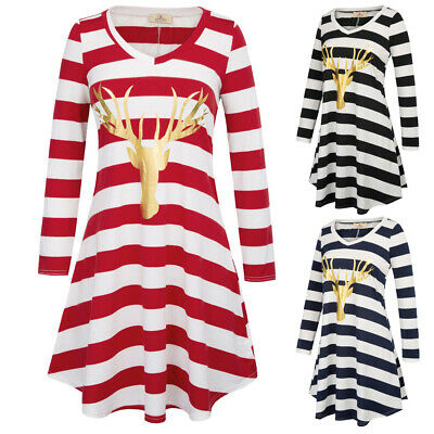 Gk Spring Fashion Women's Long Sleeve V-neck Deer Pattern Striped A-line Dress