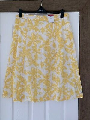 "BNWT M&S CLASSIC COTTON SKIRT  LIGHTWEIGHT 18 Length 30"" YELLOW WHITE"