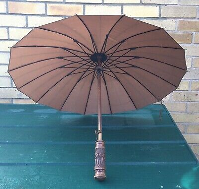 Antique Chinese/Japanese Umbrella Carved Wooden Handle