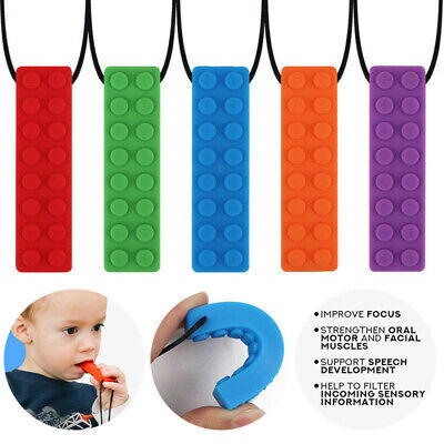 1Pcs Sensory Chew Necklace Brick Chewy Kids Autism BPA Silicone Biting Chewing