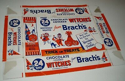 1960's Brach's chocolate Covered Witches Candy Box lid HALLOWEEN