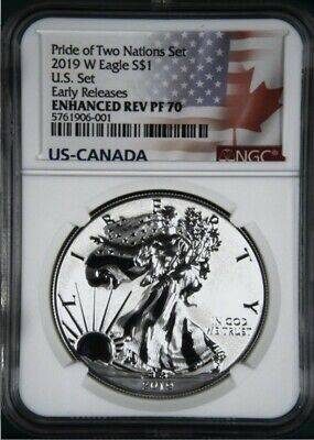 2019 Enhanced Reverse Proof Silver Eagle From Two Nations Coin Set, Ngc Pf70 Er