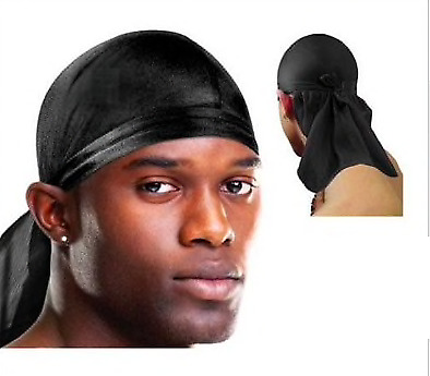 Men's Durag Tie Down Cap Bandana Sports Du-Rag Black Scarf Head Zandana Biker's