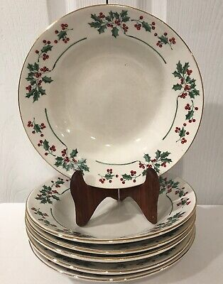 Gibson Everyday Christmas Charm Soup Cereal Bowls Holly Berry Set 6