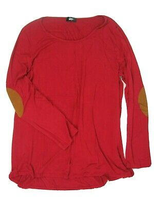 MOA USA Womens Shirt Sz 2XL Red LS Brown Faux Suede Elbow Patches Super Soft