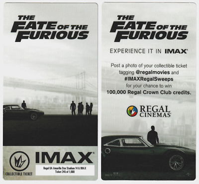 RARE Collectible Movie Ticket Fate of the Fast and Furious 8 Regal IMAX Tickets