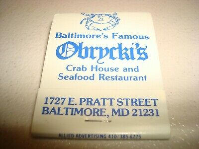 Rare Vintage Matches Obrycki's Crab House Baltimore Maryland USA Original!