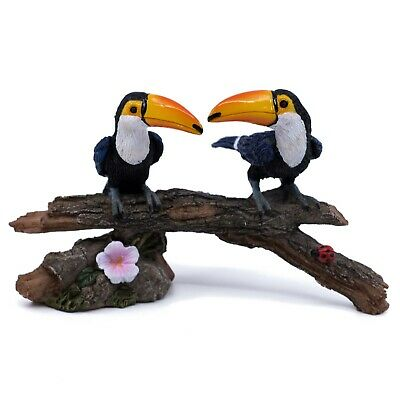 "Two Toucans On Log With Ladybug Mini Figurine 5.25"" Long New In Box!"