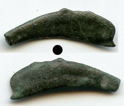 Quality ancient bronze AE25 dolphin-shaped coin, Olbia, Sarmatia, 5th/4th C. BC