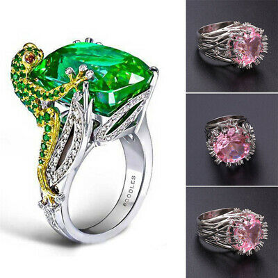 Creative Emerald Frog 925 Silver Women Wedding Jewelry Engagement Ring Sz 6-10