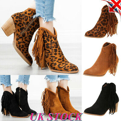 Womens Tassel Ankle Boots Chelsea Chunky Block Heels Ladies Booties Shoes Size
