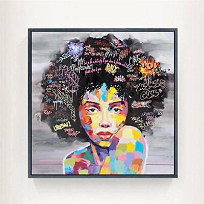 African Woman Abstract Painting Prints Modern Living Room Bedroom Wall Decor BS