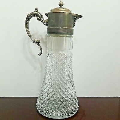 """Vintage Leonard Silver Plate and Crystal 14"""" Tall Decanter Carafe Pitcher"""
