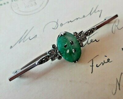 c.1930s ART DECO Chrome BAR BROOCH Marcasite & CARVED JADE GLASS Peking Green
