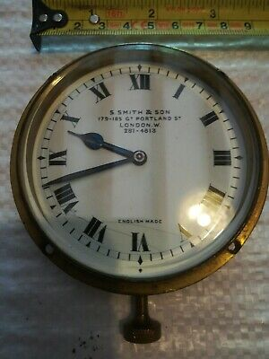 Vintage Car Clock - Smith & Son. Working. 8 Day, Enamel Dial, Bevel Edged Glass