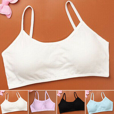 Kids Girls Lace Underwear Underclothes Pure Color Comfy Sport Bra Vest Crop Tops