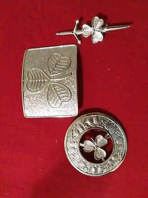 Various design of 3piece set of kilts buckle,pin and kilts brooch