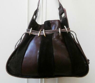 Vintage 1980's Dark Brown Leather & Suede Drawstring Shoulder Bag Made in Italy