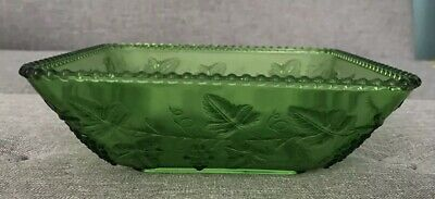 Green Depression Glass Square Bowl With Grape Motif Vintage Lovely Condition